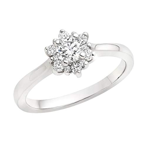 (0.50 Ct Round Cut Simulated Diamond Cluster Flower Engagement Ring 14K White Gold 7)