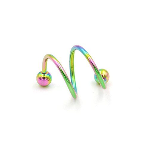 Ownsig 1 Pair Stainless Steel Helix Ear Stud Lip Nose Ring Cartilage Piercing Multi-Color