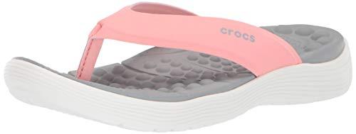 Crocs Women's Reviva Flip Flop, Melon/White, 10 M US