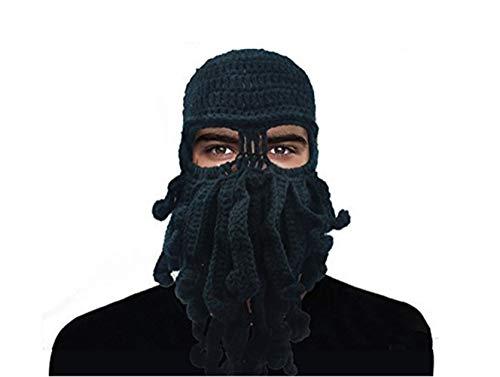 GIANCOMICS Funny Tentacle Octopus Beanie Crochet Knit Beard Hat Fisher Cap Wind Ski Mask Black (Funny Ski Face Mask)