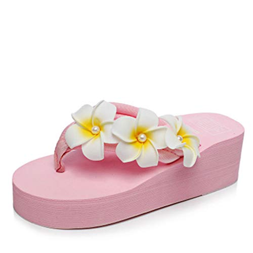 Ckrola Women Flower Platform Flip Flops Bohemia Summer Beach Thick Bottom Anti-Slip Thong Wedge Sandals Pink
