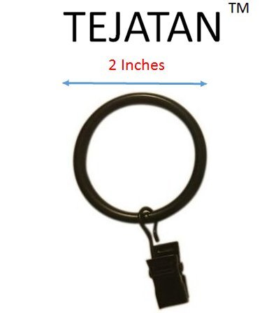 2-inch, Set of 30 Metal Curtain Rings with Clips and Eyelets - Black (Also known as Curtain clip rings / Drapery Rings / Curtain ring hooks with clips / Drapery Clip Rings)