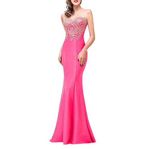 Kulywon Women Long Evening Prom Dress Formal Party Ball Gown Bridesmaid Mermaid Beaded Hot Pink ()
