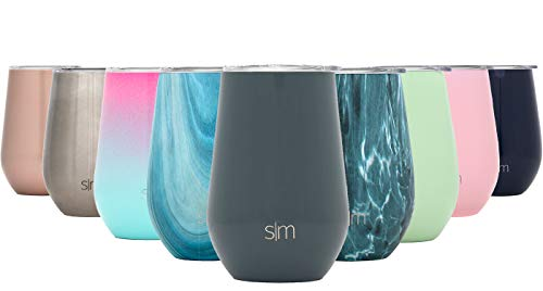 Simple Modern Spirit 12oz Wine Tumbler Glass with Lid - Vacuum Insulated Stemless 18/8 Stainless Steel Wine Cup -Graphite