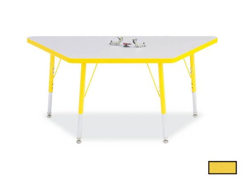 RAINBOW ACCENTS 6438JCT007 KYDZ ACTIVITY TABLE - TRAPEZOID - 24 in. x 48 in., 11 in. - 15 in. HT - GRAY - YELLOW