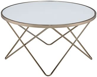 Acme Valora Coffee Table, Frosted Glass Champagne