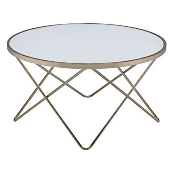 ACME Furniture Acme 81825 Valora Coffee Table, Frosted Glass & Champagne, One Size