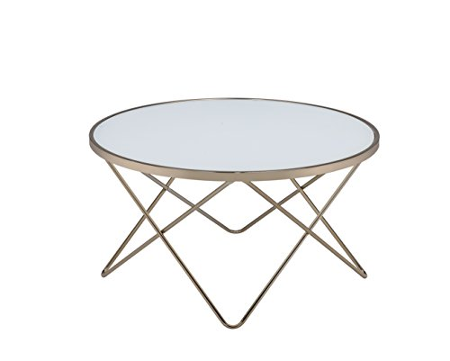 Acme Furniture Acme 81825 Valora Coffee Table, Frosted Glass & Champagne, One Size For Sale