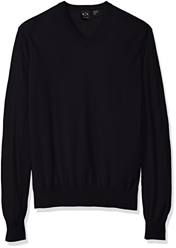 (A|X Armani Exchange Men's Ls V Neck Sweater Knit, Navy, X-Large)