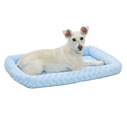 30L-Inch Blue Dog Bed or Cat Bed w/ Comfortable Bolster | Ideal for Medium Dog Breeds & Fits a 30-Inch Dog Crate | Easy Maintenance Machine Wash & Dry | 1-Year Warranty
