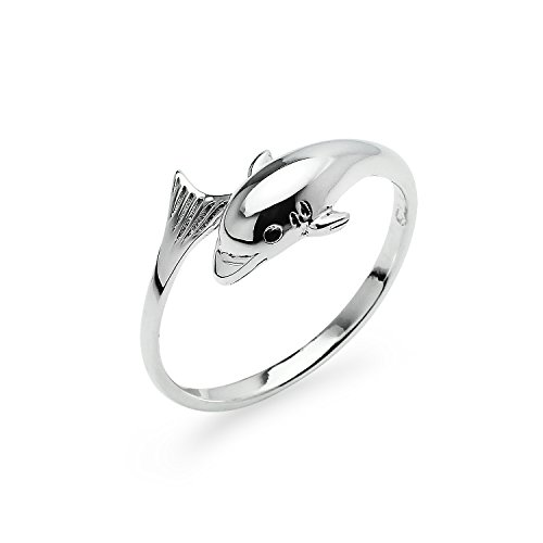Sterling Silver Dolphin Catfish Wrap Charm Ring | Ocean Animal Friendship Band Jewelry | Size 7