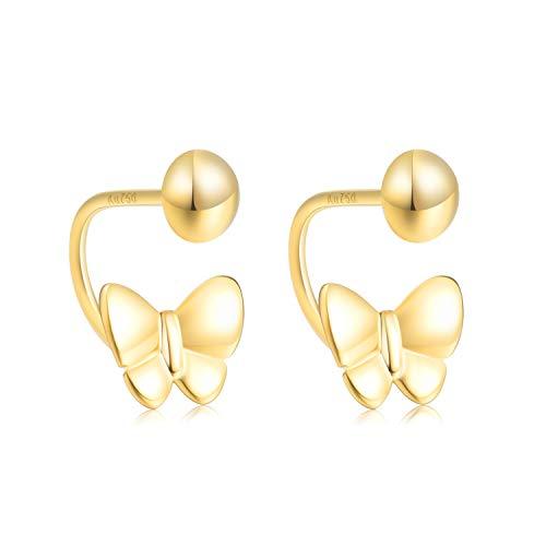 SISGEM 18k Yellow Gold Butterfly Earrings for Girls Screw Back, Real Gold Ear Jacket Earrings for Women ()