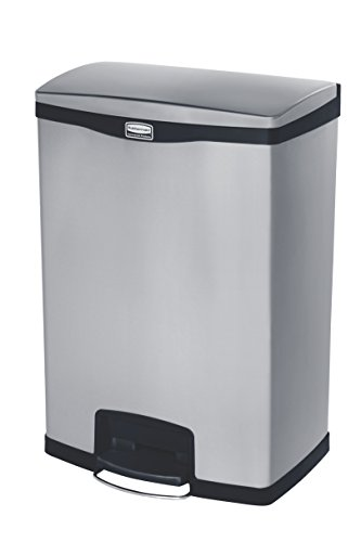 Rubbermaid Commercial Products 1902001 Rubbermaid Commercial Slim Jim Stainless Steel Front Step-On Wastebasket with Trash/Recycling Combo Liner, 24 gal, Black Trim
