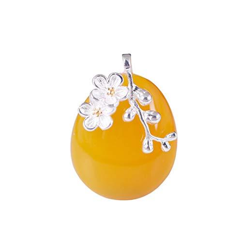 (Mayanyan S925 Silver Simple Vintage Topaz Jade Pendant Temperament Plum Blossom Jade Necklace Women's)