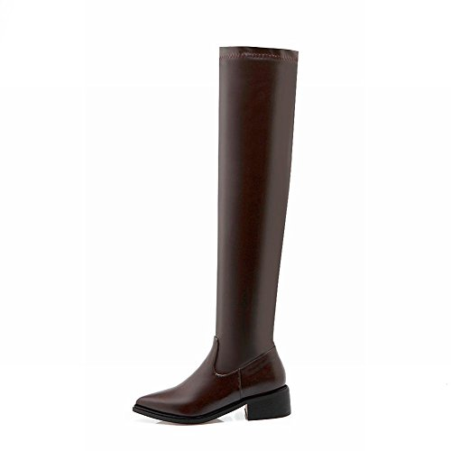 Latasa Womens Pointed Toe Chunky Heels Over the Knee Riding Boots Brown eRr5R