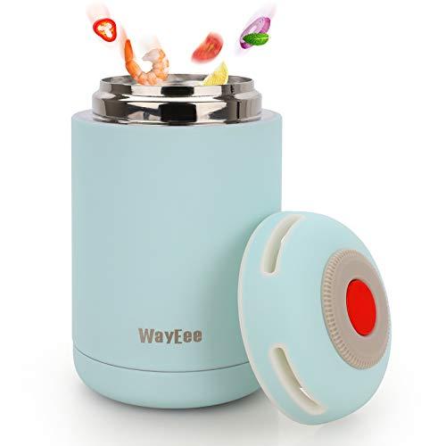 WayEee Termo para Comida 460ml Frasco Termico de Acero Inoxidable para Alimentos y Bebidas, Termo para Solido y Liquido, Cafe Pures para Adultos Bebes (Azul)