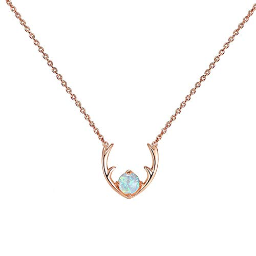 PAVOI 14K Rose Gold Plated White Opal Deer Antler Necklace 16-18