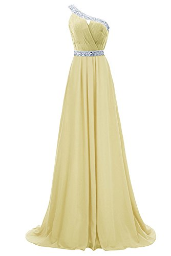 Bridesmaid Anlin Evening Prom Gown Beaded Dress Gold Shoulder Chiffon Long AN91 Party One RzrSRqUw