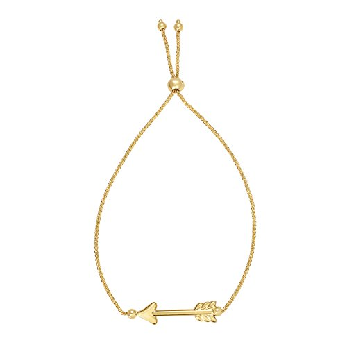 JewelStop 14k Yellow Gold Shiny Center Arrow Element Adjustable Wheat Chain Bracelet, Draw String, 2.3gr. (Element Arrow)