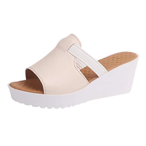 (Sunhusing Women's Round Head Slip On Wedge High Platform Shoes Outdoor Casual High-Heeled Slippers Sandals Beige)