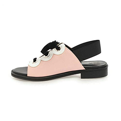 Crimeng Women Slingback Heeled Sandals Peep Toe Low Chunky Heel Lace Up Comfortable Breathable Female Slippers