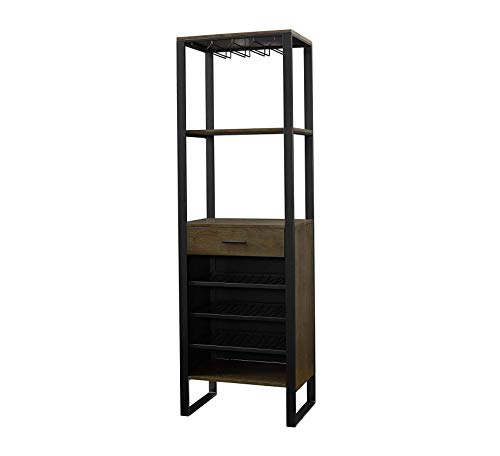 Furniture Bar Cabinet with Wine Storage, Ash Veneer with Gunmetal Finish Home Office Commerial Heavy Duty Strong -