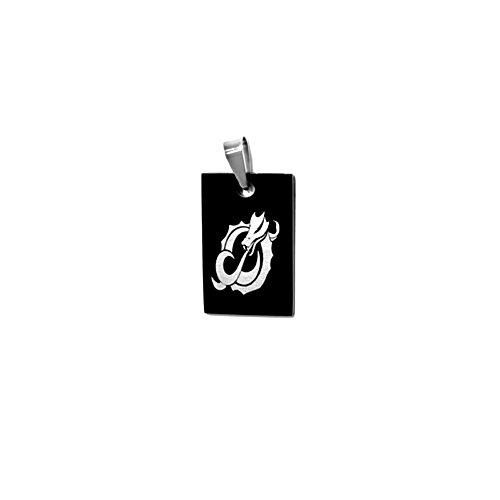 Pendentif Homme Acier Inoxydable Plaque Noire Dragon