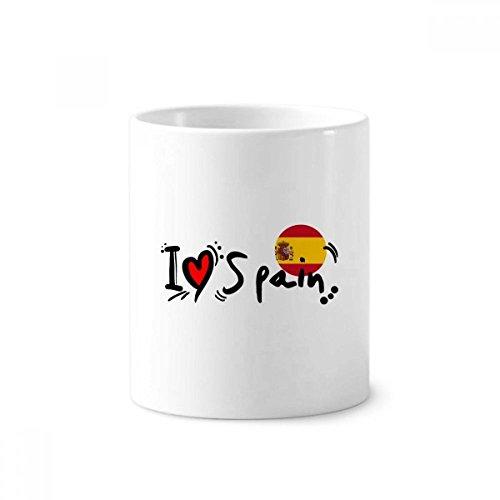 I Love Spain Word Flag Love Heart Illustration Toothbrush Pen Holder Mug White Ceramic Cup 12oz by DIYthinker