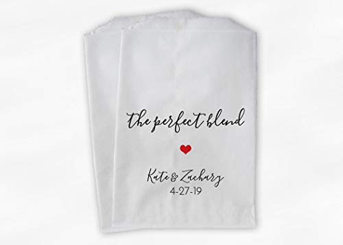 The Perfect Blend Wedding Favor Bags with Heart for Coffee, Tea, Trail Mix - Personalized Set of 25 Paper Bags (0229)