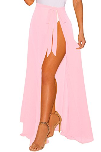 Cover Ups for Swimwear Women's Tie Side Boho Split Long White Beach Dress Chiffon Sheer Maxi Beach Skirt