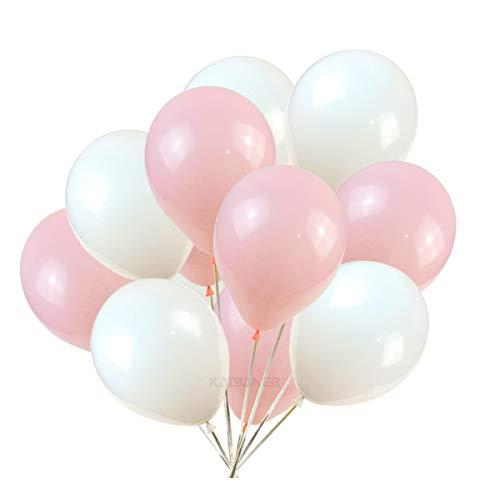 (KADBANER 10 inches White and Tender Pink Latex Balloons 100)