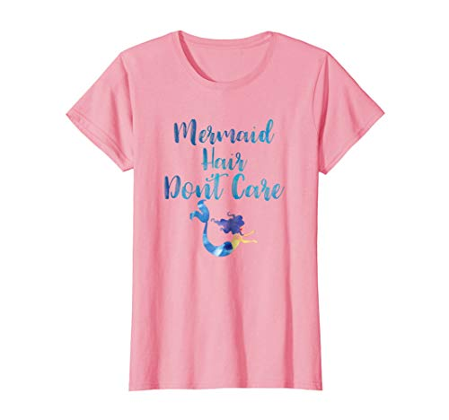 Womens Mermaid Hair Don't Care T Shirt Medium Pink ()
