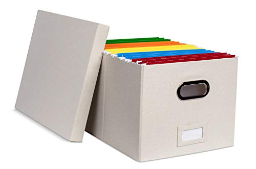 Internet's Best Collapsible File Storage Organizer Box with Lid | Decorative Linen Hanging Filing & Storage Office Box | Letter/Legal | Strong Durable | Toys Blankets Binders | Cream | 1 Pack