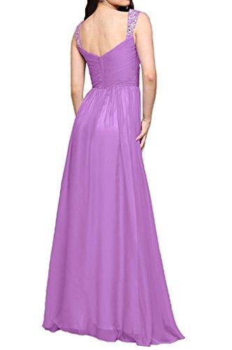 Festlichkleider mia Braut Zwei La A Abendkleider Wassermelon Partykleider Flieder Chiffon Promkleider Linie Traeger Ballkleider 67Hdqwd