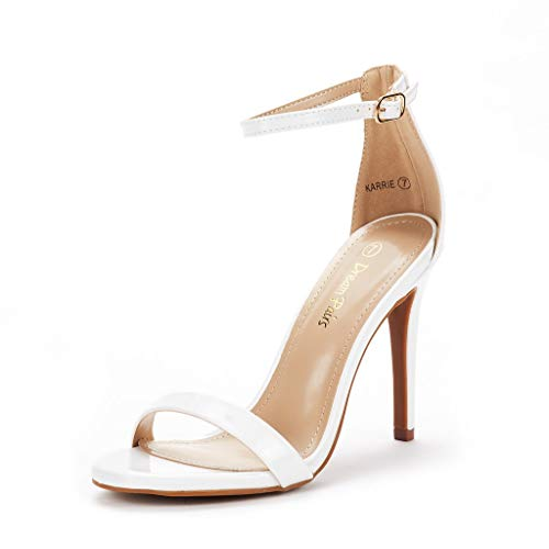 DREAM PAIRS Women's Karrie White Pat High Stiletto Pump Heel Sandals Size 8 B(M) US