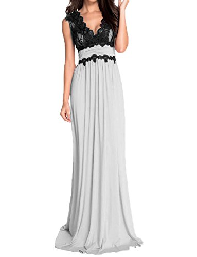 Chiffon Deep Gown Long s Black Neck White V Sexy Dress Party Evening Formal DKBridal Lace Women XRHqHf