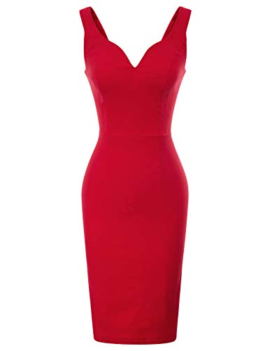 Women Plunge V-Neck Sexy Plain Dress Solid Color M Red