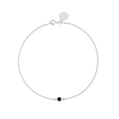 Tousi Black Diamond Bracelet - 0.05ct Real 14k 18k Solid Yellow Rose White Gold - Round Bezel Set Solitaire - Personalized for Women - Free Initials Engraving (Real Diamond Ct 0.05)