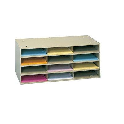Durham 432-75 Tan Cold Rolled Steel Horizontal Literature Storage Rack, 33-3/4'' Width x 14-1/4'' Height x 11-5/8'' Depth, 12 Pocket