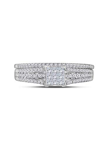 (14kt White Gold Womens Princess Diamond Bridal Wedding Engagement Ring Band Set 1/2 Cttw)