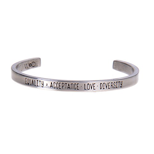 Equality = Acceptance Love Diversity Pewter Cuff Bracelet