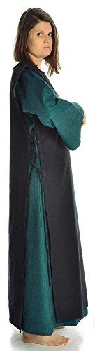 mit Kleid Schwarz Leinenstruktur Mittelalter XL grün Grün Baumwolle Damenkleid S Damen mit HEMAD Skapulier qH1Bx