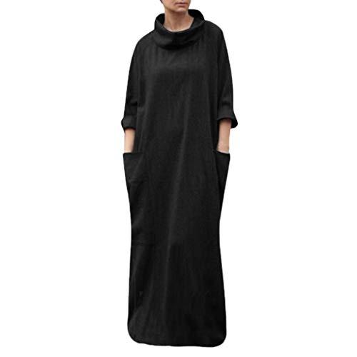 Toimothcn Women Linen Plus Size Turtleneck Long Maxi Dress Half Sleeve Full Length Pocket Dress(Black,XXXL)