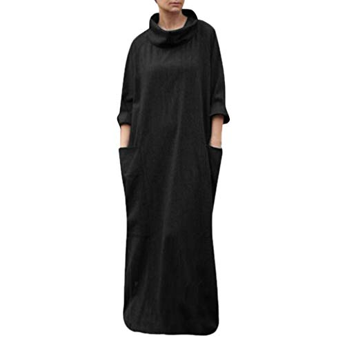 - Toimothcn Women Linen Plus Size Turtleneck Long Maxi Dress Half Sleeve Full Length Pocket Dress(Black,L)