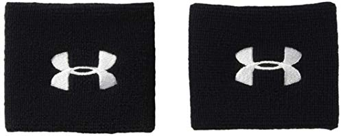 Under Armour Men's 3 Performance Wristband - 2-Pack, Black (001)/White, One Size Fits All