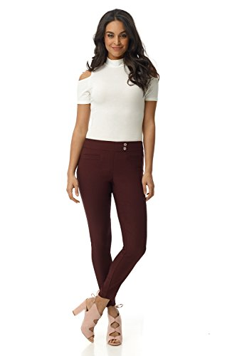 Rekucci Women's Ease in to Comfort Slim Ankle Pant with Snaps (16,Brick)