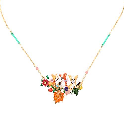 (JUICY GRAPE Ladies Exquisite Cloisonné Handmade Enamel Necklace for Women, Vintage Real Gold, Multi Stones, Sweet Chihuahuas)