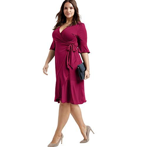 Pleated Flounce - Ellos Women's Plus Size Ruffle Trim Wrap Dress - Crystal Berry, 14
