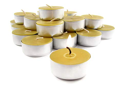 - Toadily Handmade Beeswax Candles 24 Hand Poured Beeswax Tea-Light Candles in Natural - Metal Cups & Chemical Free Cotton Wicks - 100% Beeswax Candles Made in The USA
