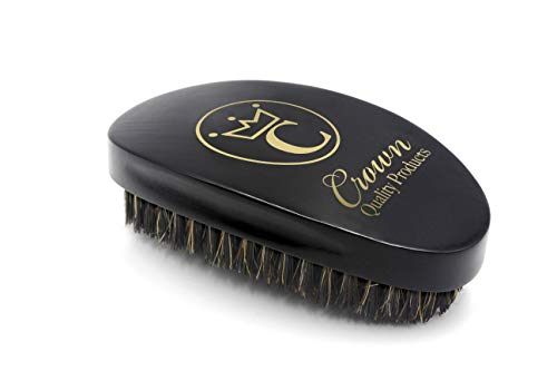 Crown Quality Products 360 Gold Mixed Boar Bristle Caesar Brush - Onyx Black Medium (Low Cut Caesar With The Deep Waves)